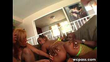 ebony and her friend in a 4some bang with a black guy