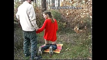 the horny teen was fucked with her boyfriend in the forest
